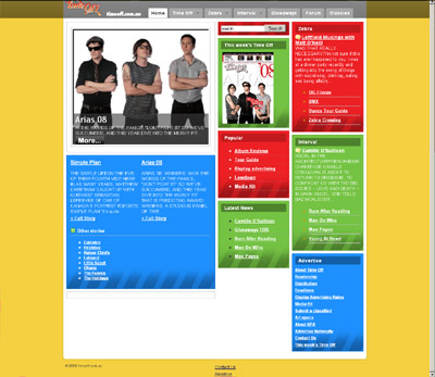 Time Off Magazine website screenshot, 20 October 2008
